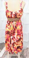 Bisou Bisou Women's Size 10 Wide Strap Beaded/Belted Knee Length Boho Sun Dress