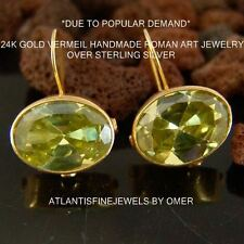 Sterling Silver Peridot Color Topaz Earrings 24k Gold Plated By Omer Handmade