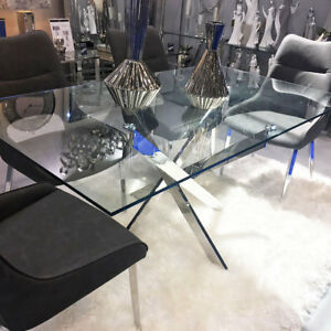 Aurelia Chrome & Clear Glass Rectangular Dining Room Kitchen Table 160cm x 90cm