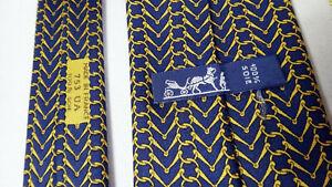 Hermes BLUE equestrian horse tack tie necktie gold CLASSIC short bit 753 UA vtg