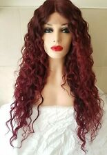 Red Burgundy Purple Human Hair, Real Hair Wig, Lace Front Wig