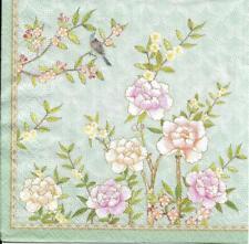 Lot de 4 Serviettes en papier Jardin Fleur Oiseau Decoupage Collage Decopatch