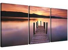 Cheap Lake Sunset Canvas Prints Set of 3 for your Living Room