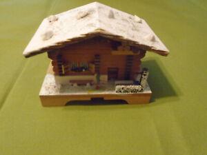 Vintage Cuendet Swiss Chalet Cottage Wooden Musical Trinket Jewelry Box -