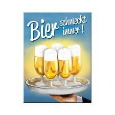 Bier schmeckt immer ! Kühlschrankmagnet Fridge Refrigerator Magnet 6 x 8 cm