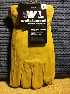 Wells Lamont Heavy Duty Cowhide Leather Work Gloves Large New