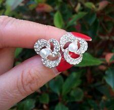 DIAMANTE AND PEARL STUD BRIDAL EARRINGS VINTAGE CRYSTAL FLOWER WEDDING JEWELRY