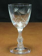 Vintage Set 6 Elegant Cut Crystal Palm Bubble Stem Wine Clarets Glasses Floral