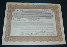 Texas Crude Oil and Refining Company 1919 antique stock certificate