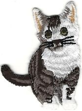 "2.25"" Grey Gray White Munchkin Cat Embroidery Patch"
