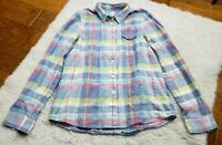Madewell Button Up Paid Shirt Long Sleeve Pastel Women's Size Small