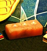 Handcrafted Himalayan Rock Salt 3 Hole Tea LIght Holder Healing Positive Energy
