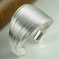 Eg _ Damen Versilbert Multi-Lines Verstellbar Finger Offen Breiter Ring Schmuck