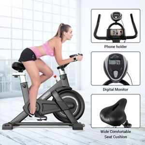 Indoor Exercise Bike with Adjustable Seat & Handlebars Cycling Bike for Home Gym
