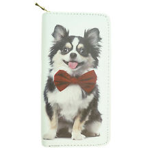 Dog Wallet Long Haired Chihuahua on both sides - White Approx 19cm x 10cm