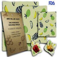 Blue Dan Beeswax food storage wraps, Reusable Food Bee Wraps, Eco Friendly, Asso