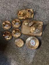 Victoria China Czechoslovakia Bohemia Gilded 22k Gold Tea Set Hand Paint As Pics