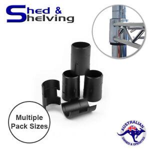 "Wire Shelf Clips 1"" Diameter Shelving Split Sleeve Lock Clips Black Plastic Sets"