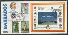 BARBADOS 2000 LORD'S CRICKET 100th TEST MATCH 3v & S/Sheet FIRST DAY COVER