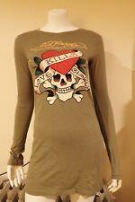 NWT Ed Hardy Tunic Love Kills L/S Olive Cotton Long M T-Shirt Dress FREE GIFT