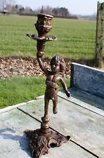 Vintage Ornate Candle Holder Candle Stick Putti Cherub Angel Italian Brass