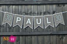 Personalised 18th 21st 30th Birthday Bunting Banner Flags Any Name message grey