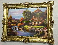 Gemälde Landschaftsbild Antik Reblikat 90X70 Bild mit Rahmen GOLD L13
