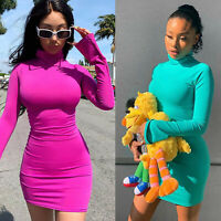 Women Sexy High-Neck Long Sleeve Bodycon Mini Pencil Dress Casual Party Clubwear
