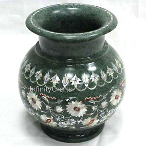 7 Inches White Marble Decorative Vase Unique Design with MOP Work Flower Pot