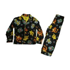 New Pokemon Boys Button Up Fleece Pajama Sleep Set Size XS 4/5