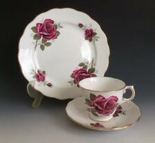 Royal Kent Bone China Trio Set With Rose Design Made In Staffordshire England