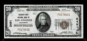 1929 $20 Dollars Los Angeles California Serie Type 1 Circulated