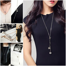 Hollow ball pendant fringe simple style long necklace silver gold UK seller
