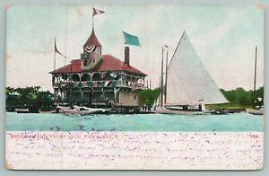 Pawtuxet Rhode Island~Rhode Island Yacht Club~Vintage Postcard