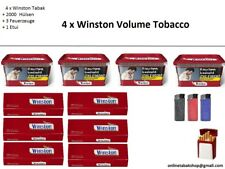 4 x Winston Volumen Tabak 210g, 2000 Hülsen, 1 Etui,  3 Feuerzeuge