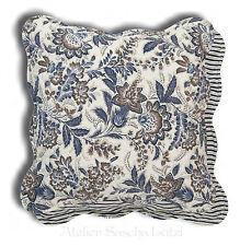 Clayre & Eef Quilt Kissen Hülle Floral Gemustert Blau Braun 40cm x 40cm NEU