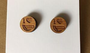I Heart Coffee Stud Earrings, Wood, 12mm, Surgical Steel, Laser Cut, Cup Gift