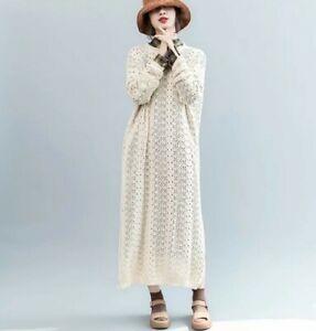 Cream Crochet LagenLook  Arty Autumnal Boho Loose Edgy Midi Jumper Dress  10