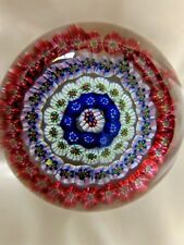 Antique BACCARAT Crystal France 4 ROW CONCENTRIC MILLEFIORI Paperweight