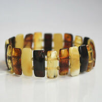 Exclusive Solid Baltic amber bracelet multicolor natural handmade