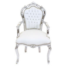 CHAIRS FRANCE BAROQUE STYLE DINING ROYAL CHAIR WITH ARMRESTS SILVER/WHITE #70F31