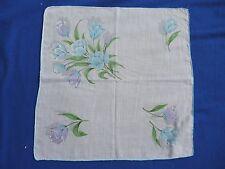 Vintage Floral Cotton Hankie Handkerchief Blue Tulip