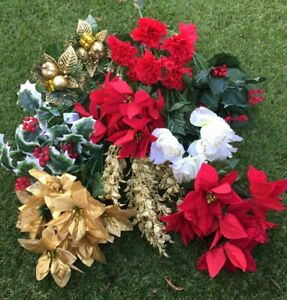 Artificial Christmas Flowers X 10 Assorted Bunches And Xmas Picks Job Lot