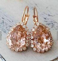 18k Rose Gold Over 5.00 ct Pear-Cut Peach Morganite Diamond Halo Dangle Earrings