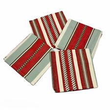 Santa Fe Striped Red Turquoise Tan Cotton Dinner Napkins Set of 4