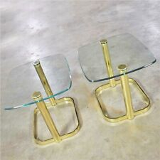 Modern Pair of End Tables Brass Plate and Glass Attributed to Leon Rosen for The