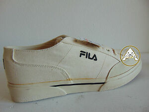Vintage 90 FILA Scarpe 44.5 11 Tela Canvas Sneakers Trainers Shoes Bianco White