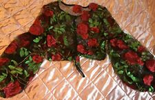 Sold out Shein BLACK FLORAL ROSE EMBROIDERED MESH PUFF LONG SLEEVES BLOUSE M