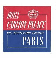 Hotel Carlton Palace - Paris, France - Vintage Luggage Label