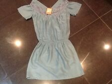 NWT Juicy Couture New & Genuine Ladies Small Blue 100% Silk Dress UK 8/10 US 4